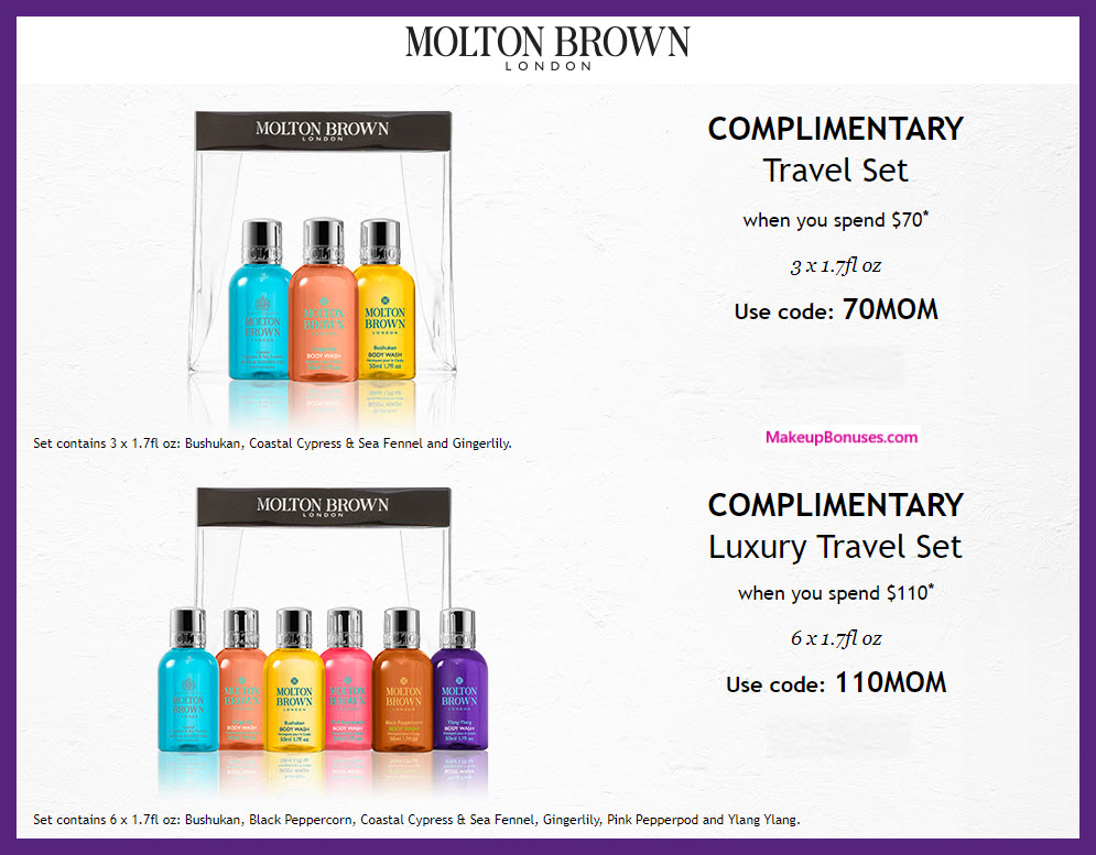 Receive a free 3-pc gift with $70 Molton Brown purchase