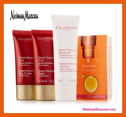 Receive a free 4-pc gift with $150 Clarins purchase