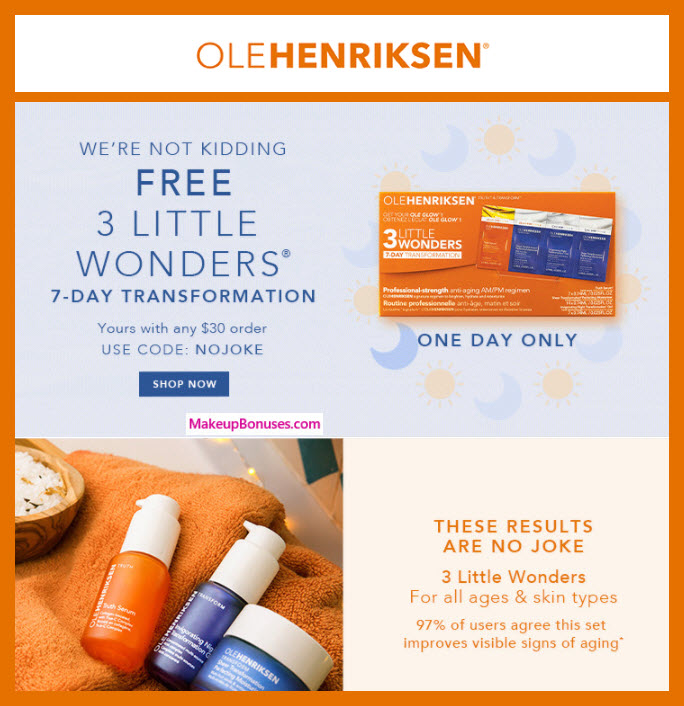 Receive a free 7-pc gift with $30 OLE HENRIKSEN purchase
