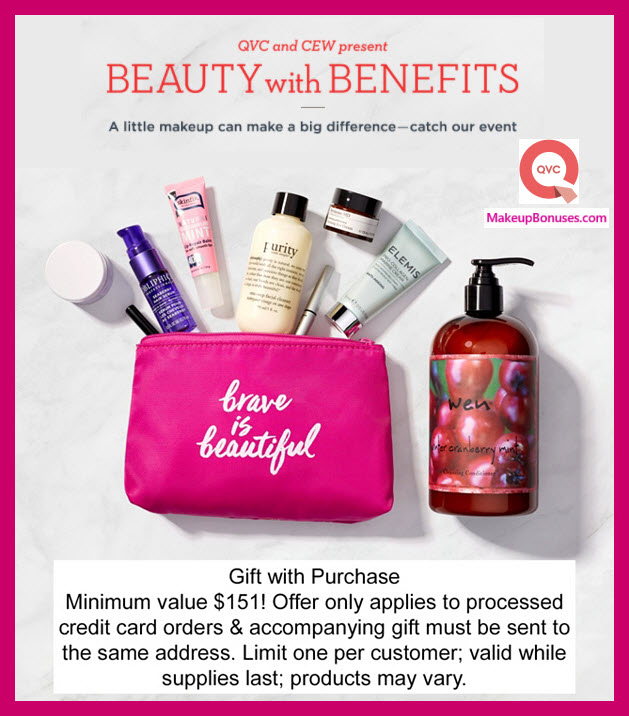 Receive a free 6-pc gift with QVC and CEW Beauty with Benefits selection (items as low as $17) purchase