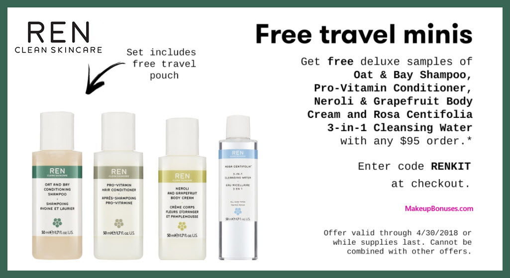 Receive a free 5-pc gift with $95 REN Skincare purchase