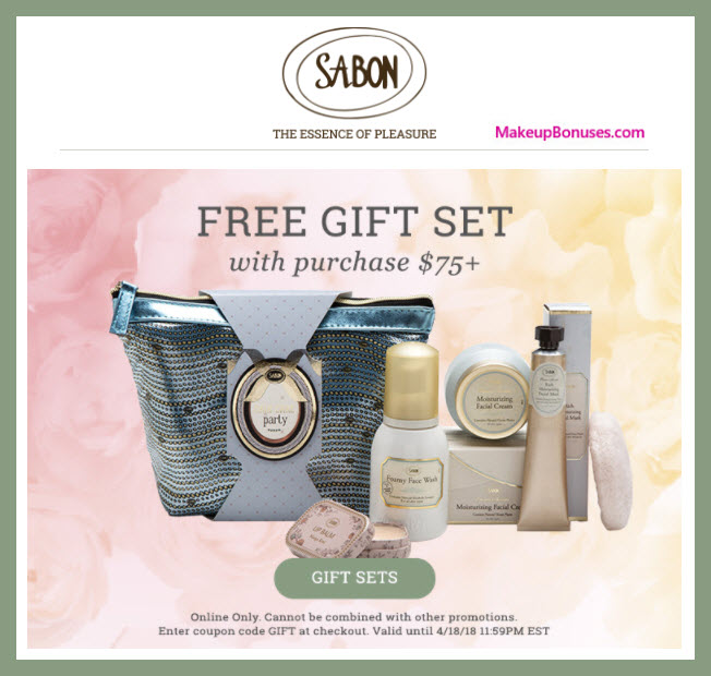 Receive a free 4-pc gift with $75 Sabon NYC purchase