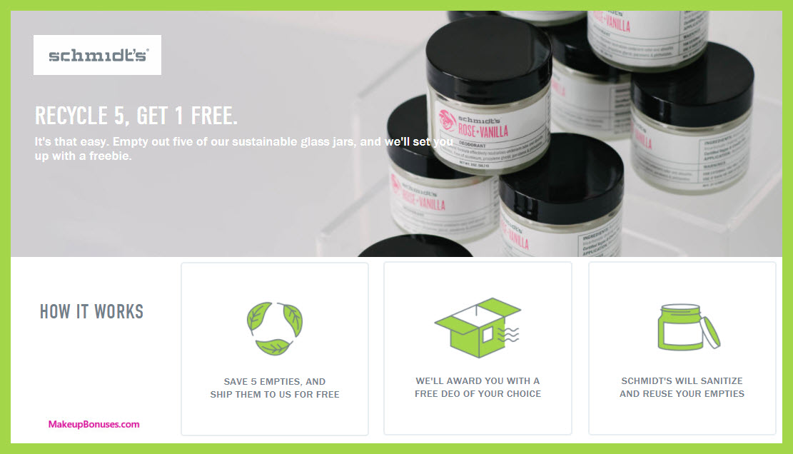 Schmidt's Naturals Recycling Program - MakeupBonuses.com