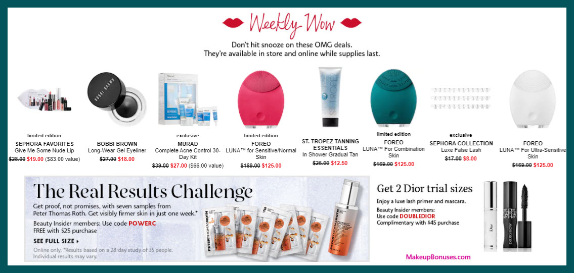 Sephora Weekly Wow Offers - MakeupBonuses.com