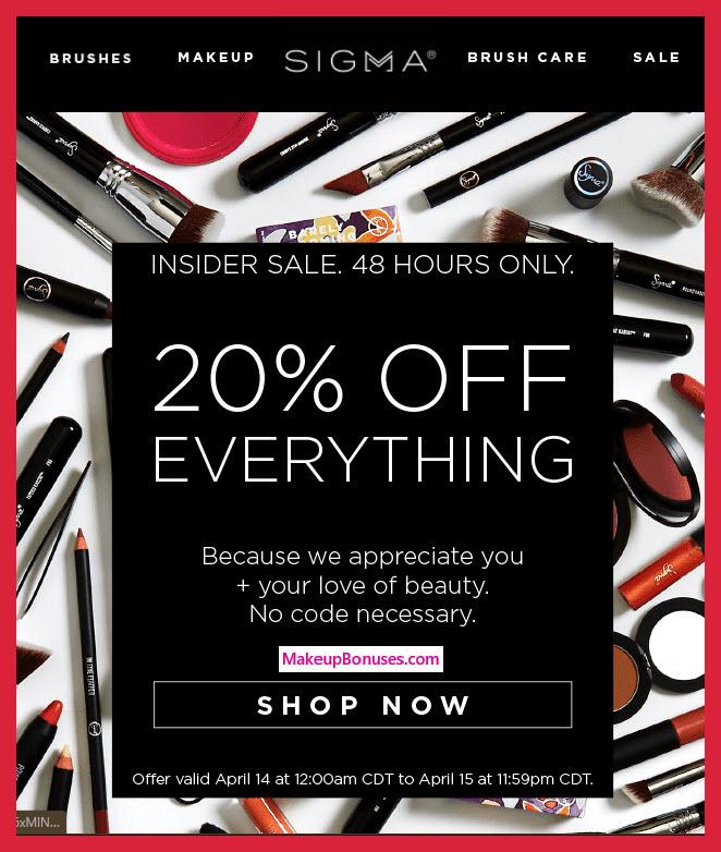 Sigma 20% Off Sitewide - MakeupBonuses.com