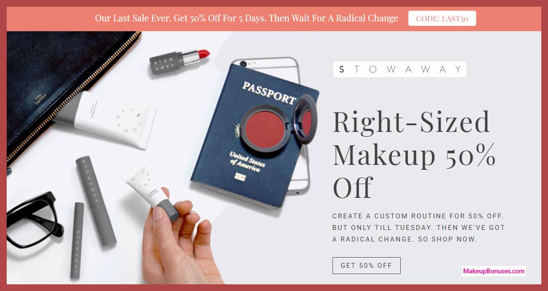 Stowaway 50% Off Sitewide - MakeupBonuses.com