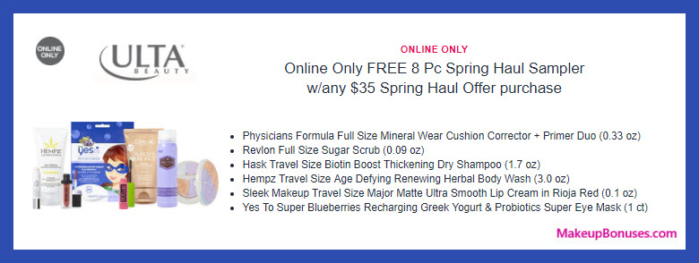 Receive a free 8-pc gift with $35 from Spring Haul event purchase
