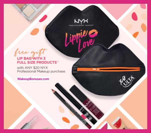 Receive a free 4-pc gift with $20 NYX Cosmetics purchase