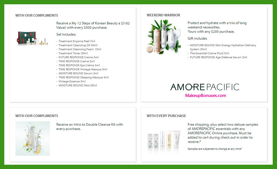 Receive a free 12-pc gift with $500 AMOREPACIFIC purchase