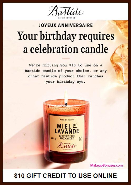 Bastide Birthday Gift - MakeupBonuses.com #Bastide