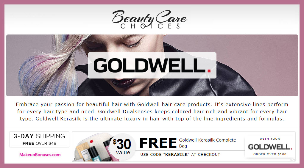 Receive a free 5-pc gift with $100 Goldwell purchase