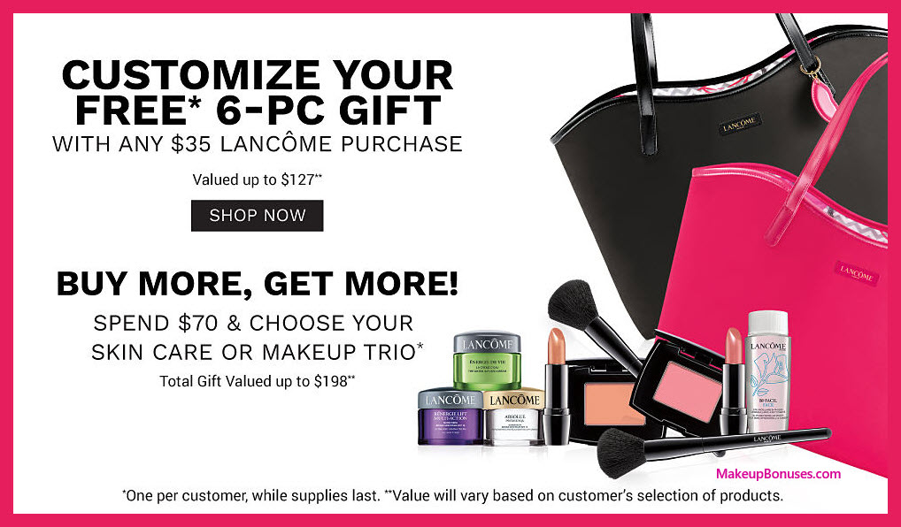 Receive your choice of 9-pc gift with $70 Lancôme purchase