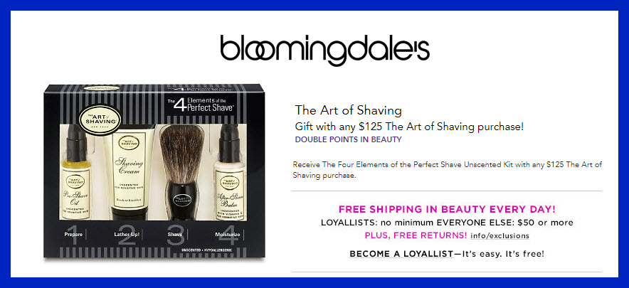 Receive a free 4-pc gift with $125 The Art of Shaving purchase