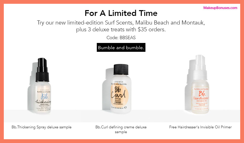 Receive a free 3-pc gift with $35 Bumble and bumble purchase