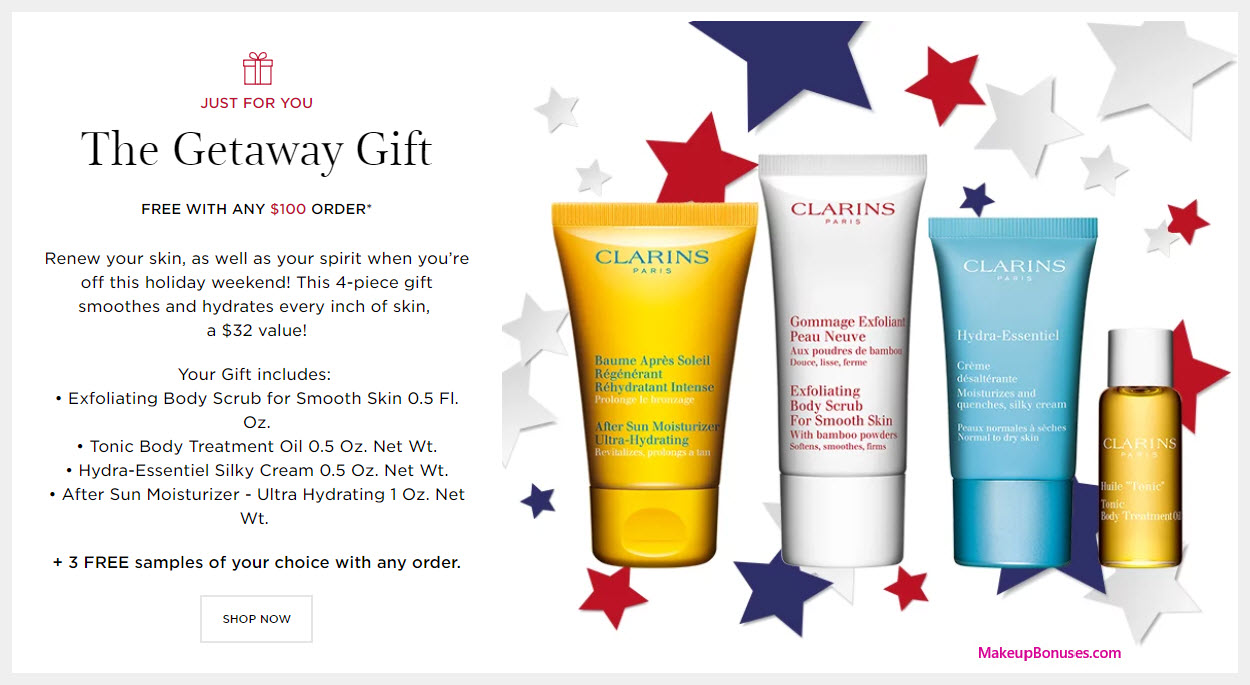 Receive a free 4-pc gift with $100 Clarins purchase