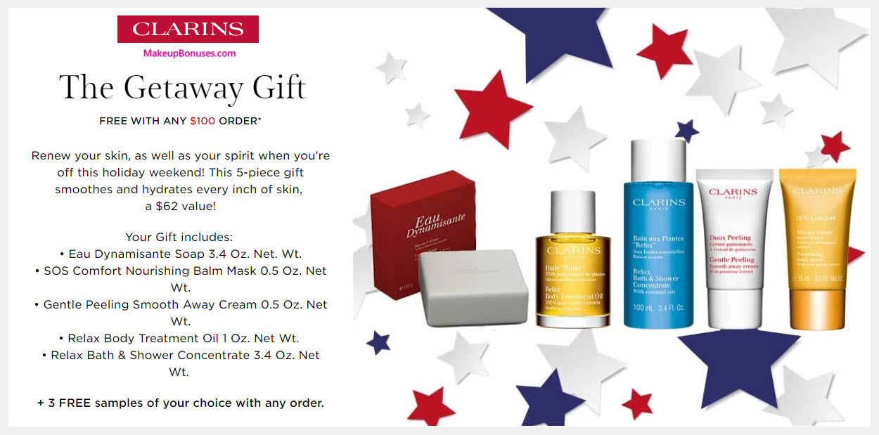 Receive a free 5-pc gift with $100 Clarins purchase