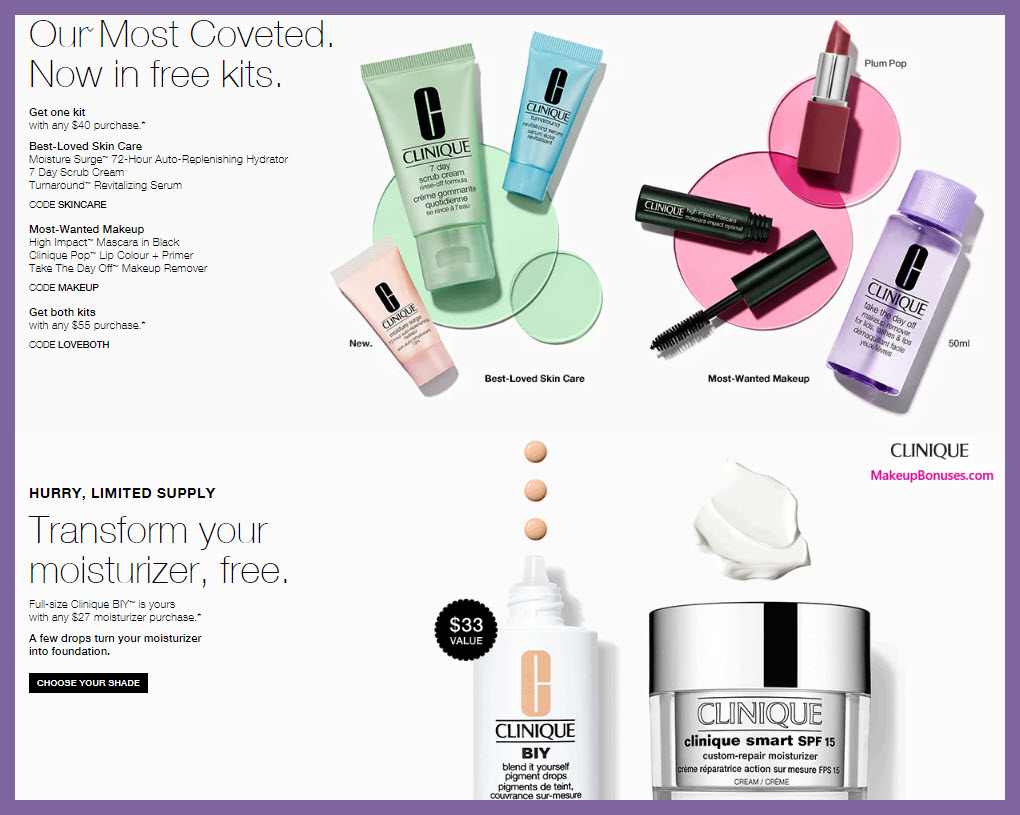 Receive your choice of 3-pc gift with $40 Clinique purchase