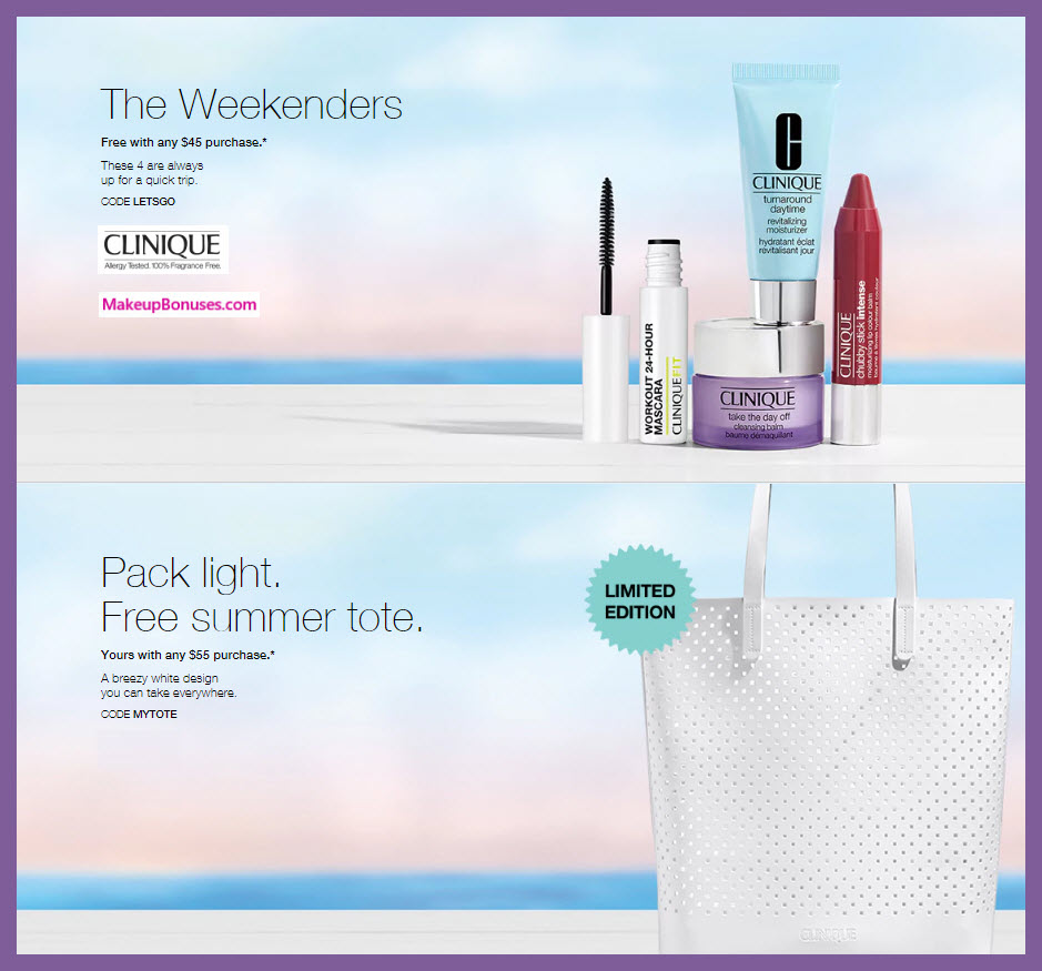 Receive a free 4-pc gift with $45 Clinique purchase
