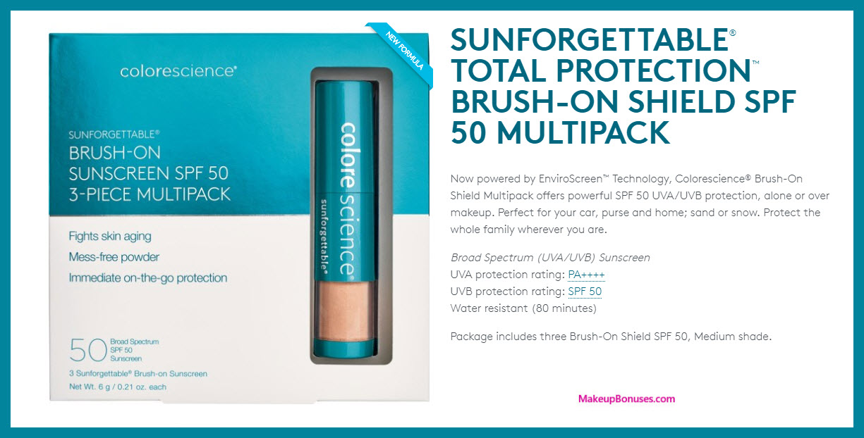 COLORESCIENCE Sunforgettable® Brush-On Sunscreen SPF 50 Trio - MakeupBonuses.com