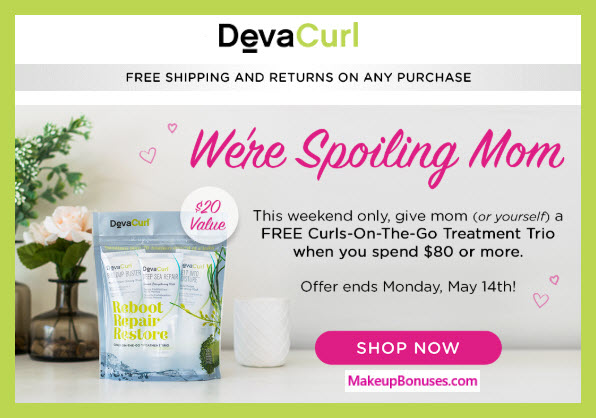 Receive a free 3-pc gift with $80 DevaCurl purchase