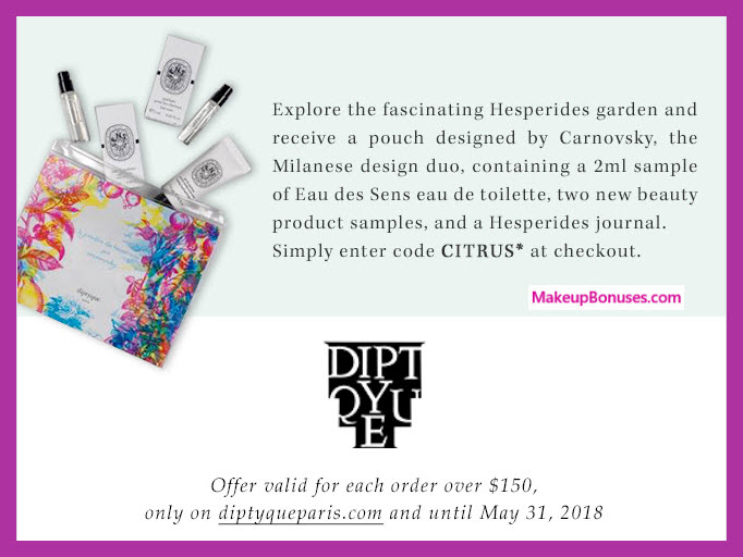 Receive a free 5-pc gift with $150 Diptyque purchase