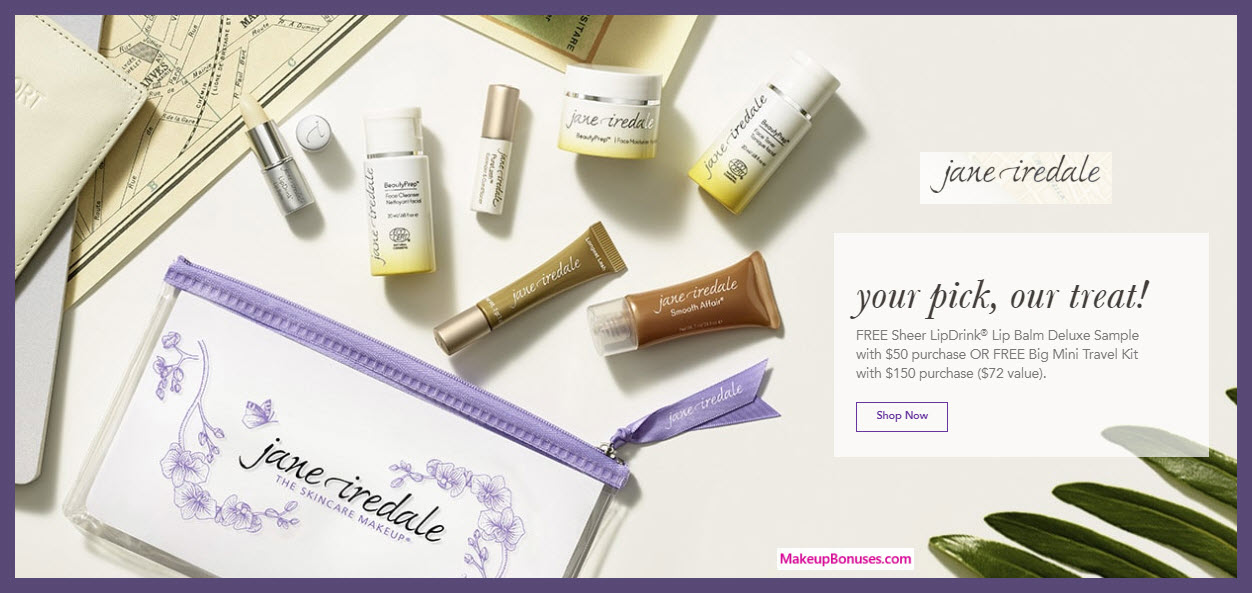 Receive a free 8-pc gift with $150 Jane Iredale purchase