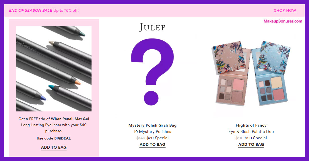 Receive a free 3-pc gift with $40 Julep purchase