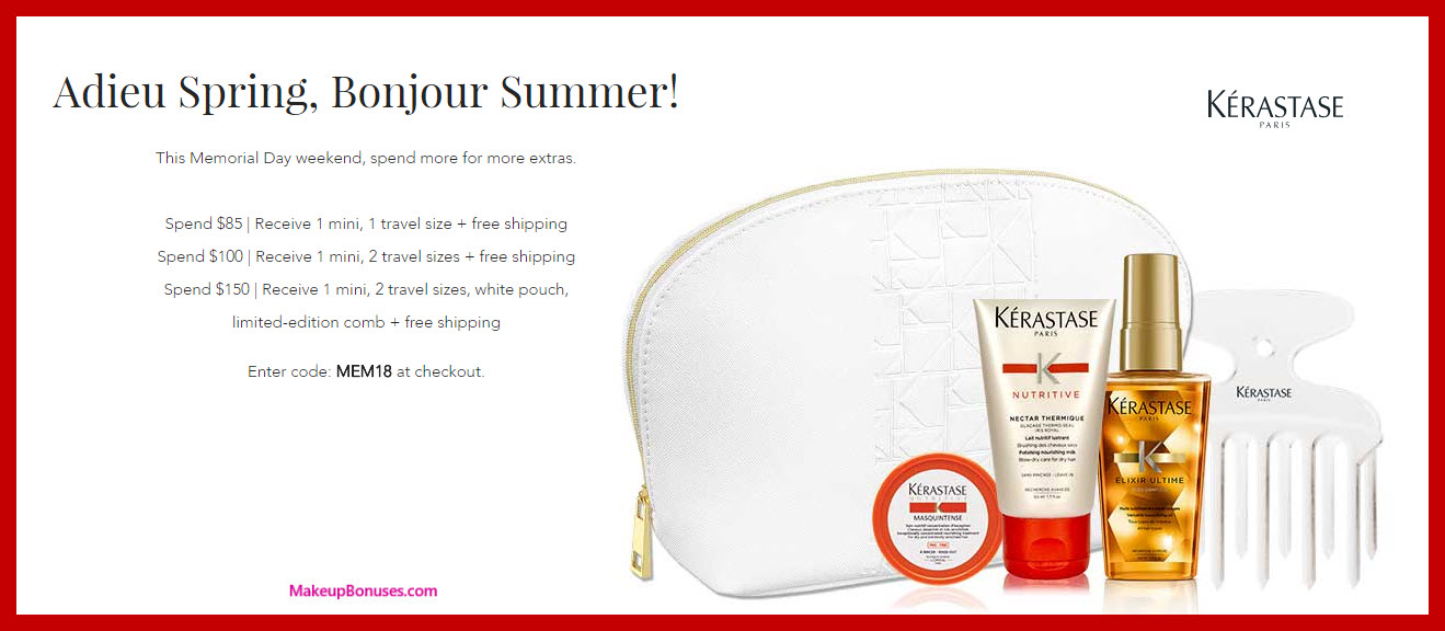 Receive a free 3-pc gift with $100 Kérastase purchase