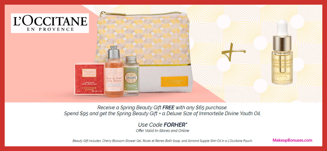 Receive a free 5-pc gift with $95 L'Occitane purchase
