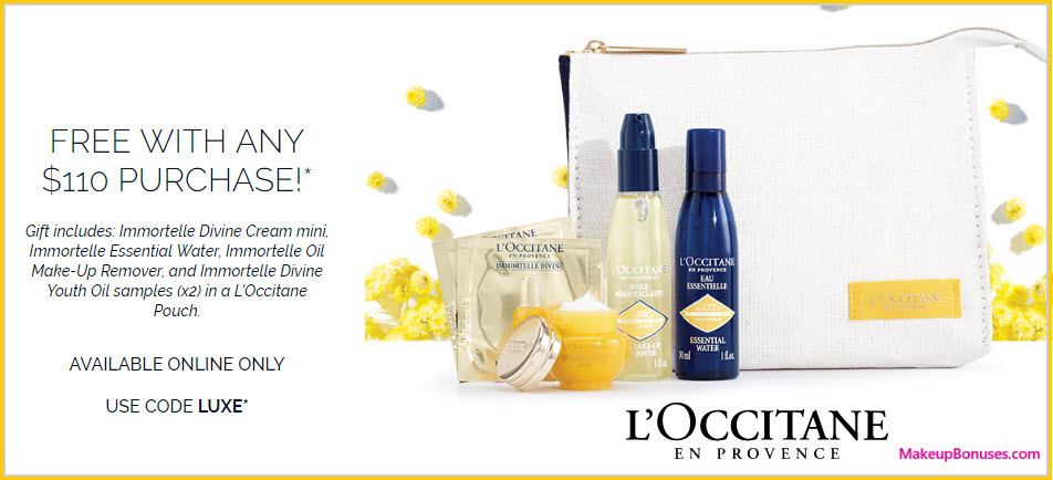 Receive a free 6-pc gift with $110 L'Occitane purchase