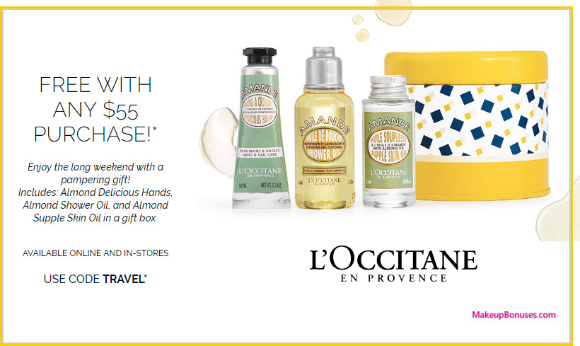 Receive a free 3-pc gift with $55 L'Occitane purchase