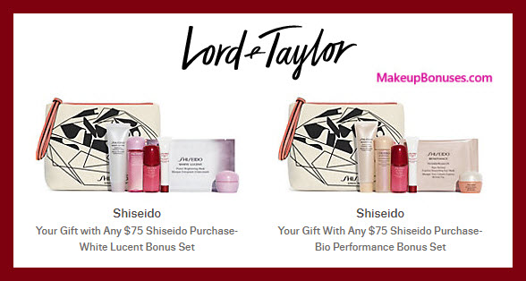 Receive a free 7-pc gift with $75 Shiseido purchase