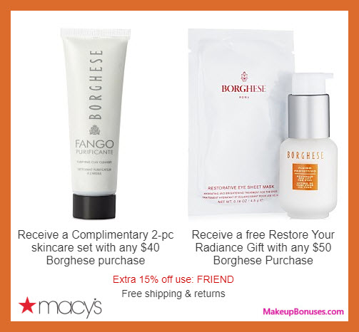 Receive a free 4-pc gift with $50 Borghese purchase
