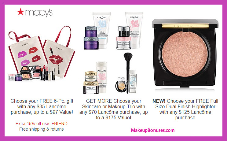 Receive your choice of 7-pc gift with $35 Lancôme purchase