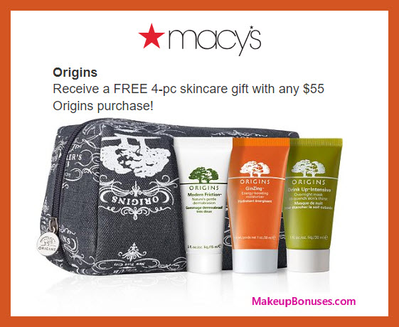 Receive a free 4-pc gift with $55 Origins purchase