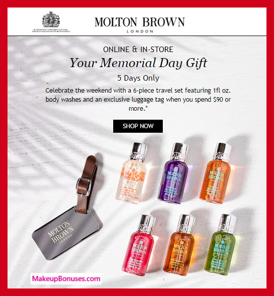 Receive a free 7-pc gift with $90 Molton Brown purchase