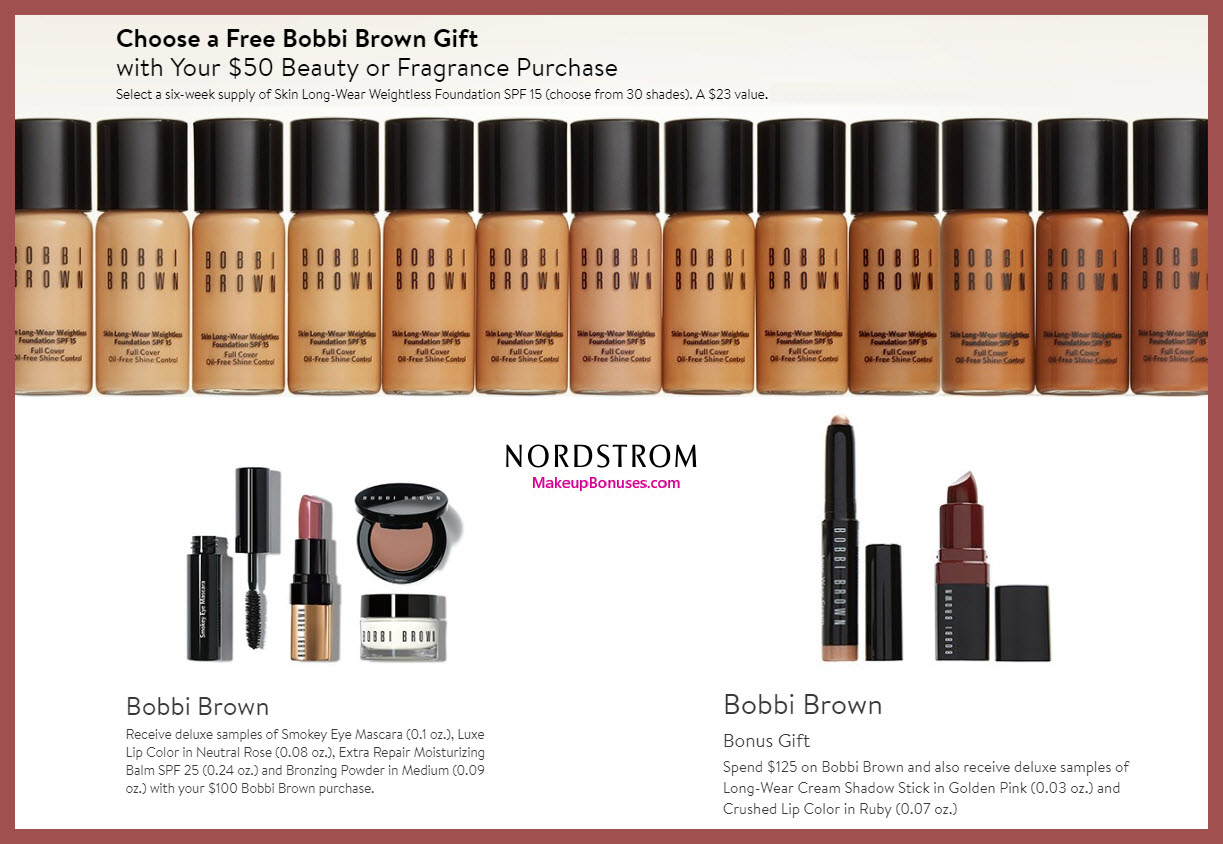Receive a free 6-pc gift with $125 Bobbi Brown purchase