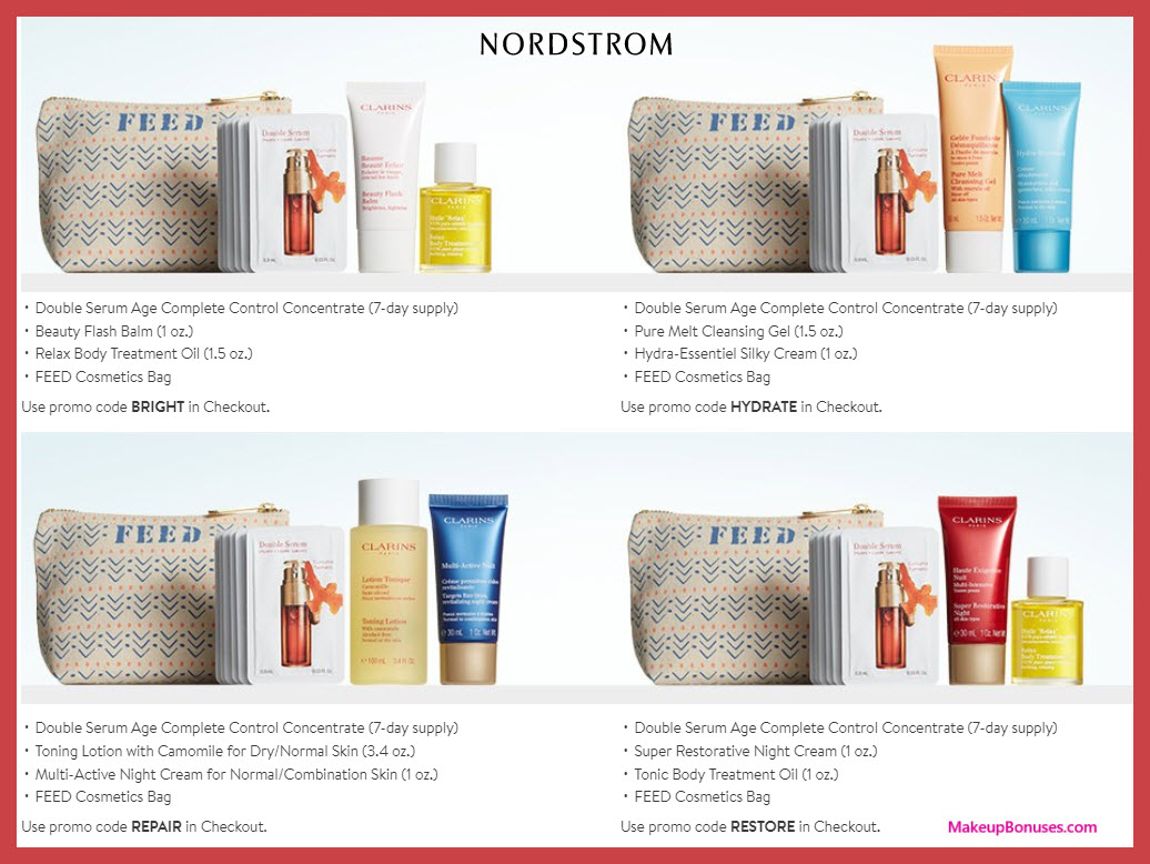 Receive your choice of 4-pc gift with $65 Clarins purchase