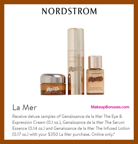 Receive a free 3-pc gift with $350 La Mer purchase