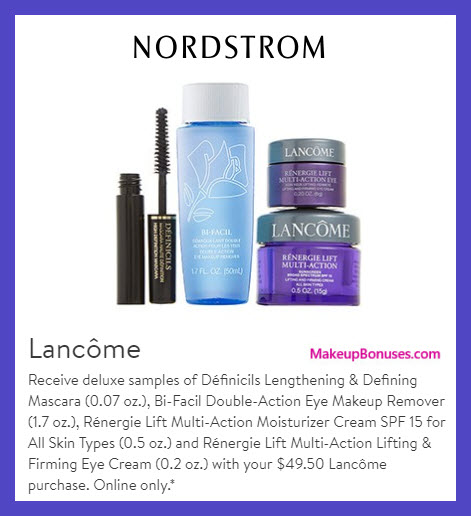Receive a free 4-pc gift with $49.5 Lancôme purchase