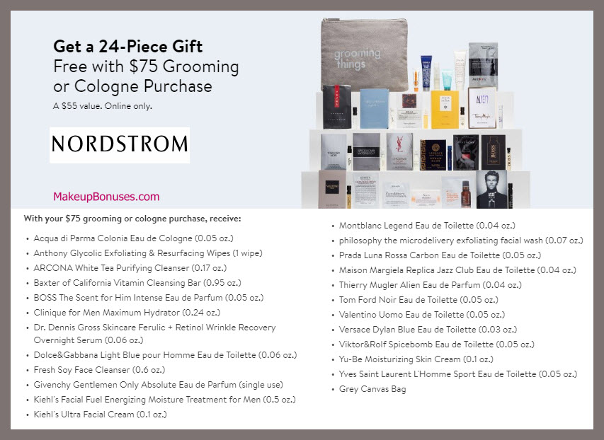 Receive a free 24-pc gift with Grooming or Cologne purchase