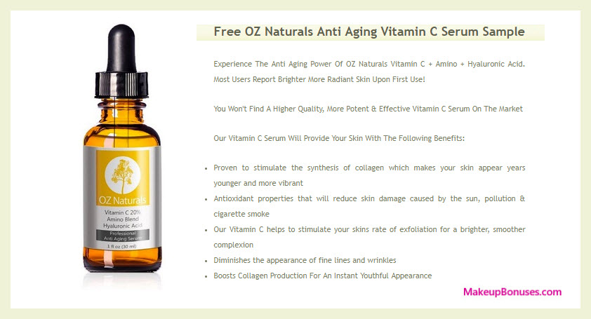 OZ Naturals Vitamin C Serum Free Sample - MakeupBonuses.com