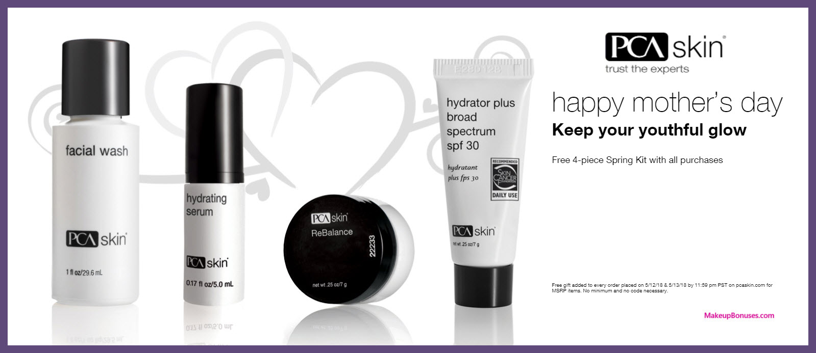 Receive a free 4-pc gift with all purchase