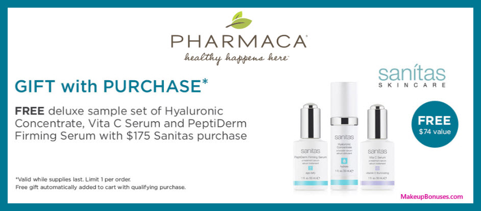 Receive a free 3-pc gift with $175 Sanitas Skincare purchase