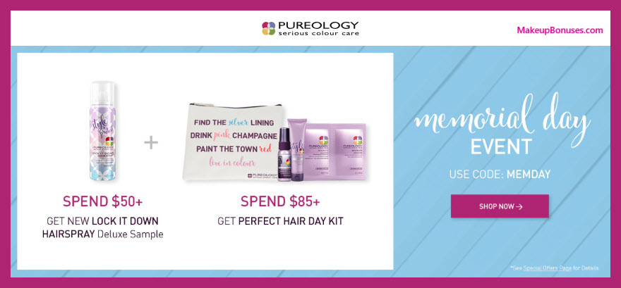 Receive a free 4-pc gift with $85 Pureology purchase