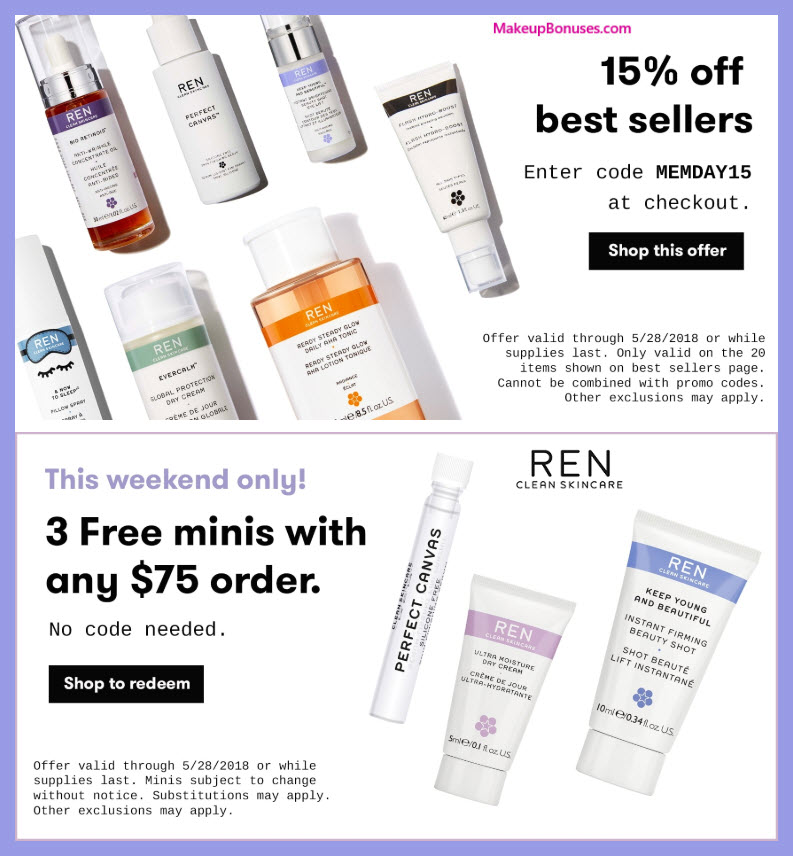 Receive a free 3-pc gift with $75 REN Skincare purchase
