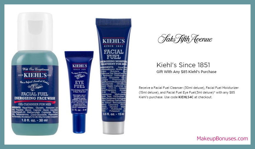Receive a free 3-pc gift with $85 Kiehl's purchase