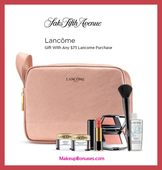 Receive a free 7-pc gift with $75 Lancôme purchase