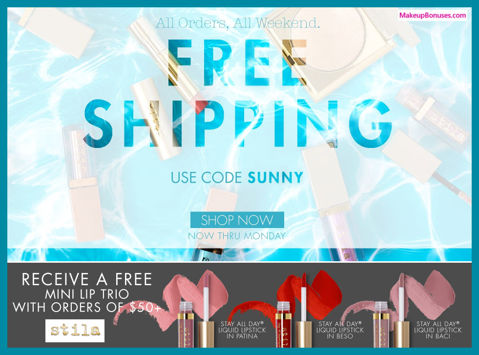 Receive a free 3-pc gift with $5 Stila purchase