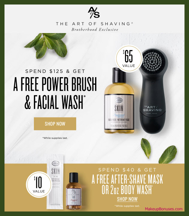 Receive a free 2-pc gift with $125 The Art of Shaving purchase